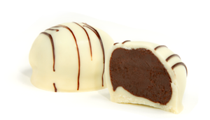 White Chocolate drizzled with dark chocolate strings. A rich dark chocolate center is flavored with Kahlúa®, a coffee liqueur, and dipped in a white chocolate shell.
