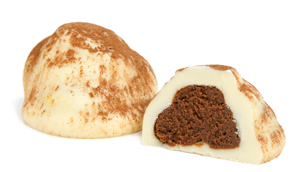White chocolate shell dusted with cinnamon and cocoa powder. A milk chocolate center is infused with the main spices of Chai Tea, an Indian tradition. You experience the flavors of cinnamon, cloves, ginger, cardamom, and a rich chocolate taste.