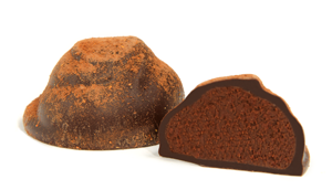 Dusted with cayenne and cocoa powder and encased in a dark chocolate coverture. You first experience a lip taste of cayenne, then a rich, full mouth chocolate flavor. A subtle taste of cayenne tingles the back of your mouth and slowly travels forward for a pleasant finish.