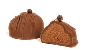 Topped with a pearl of dark French chocolate. A delicate blend of two European milk chocolates enveloped in a third premium milk chocolate provide an outstandingly smooth melt in your mouth taste sensation