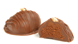 Garnished with a hazelnut. A creamy smooth blend of milk chocolate and hazelnuts, made in the Italian manner. An unforgettable flavor.